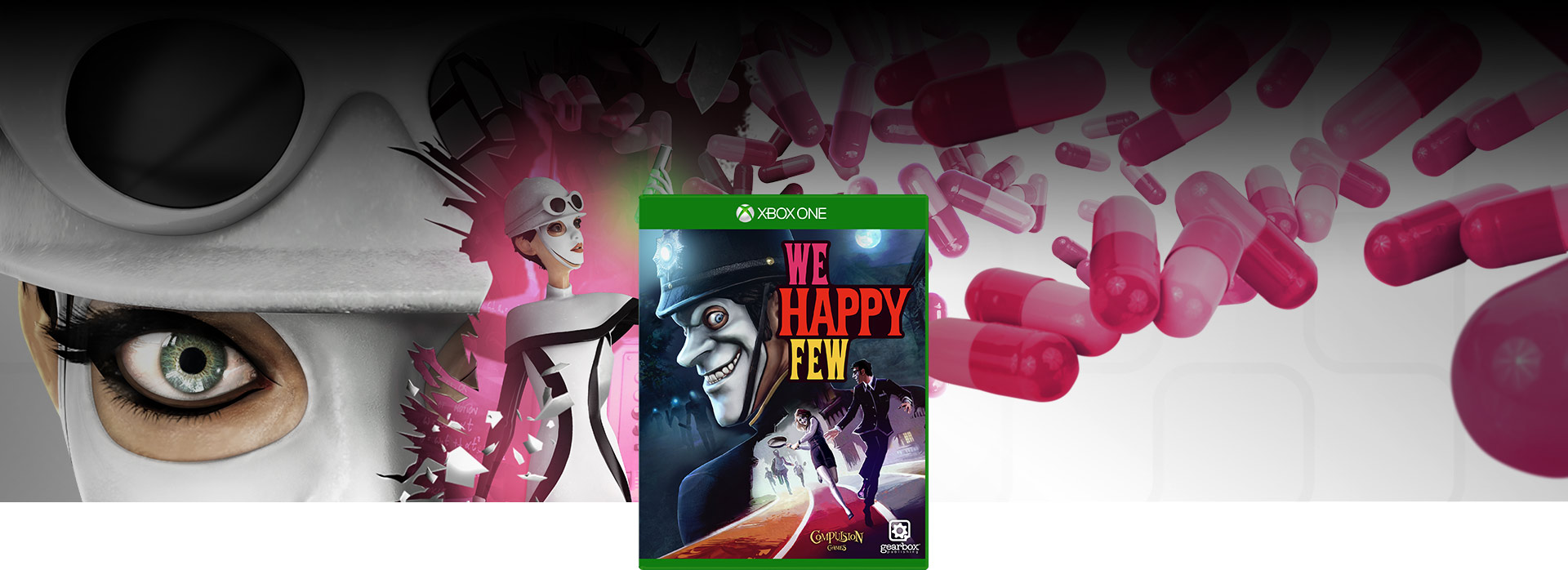 Imagen de la caja de We Happy Few, fondo de collage de Sally Boyle vestida de mod y con sus píldoras Joy.
