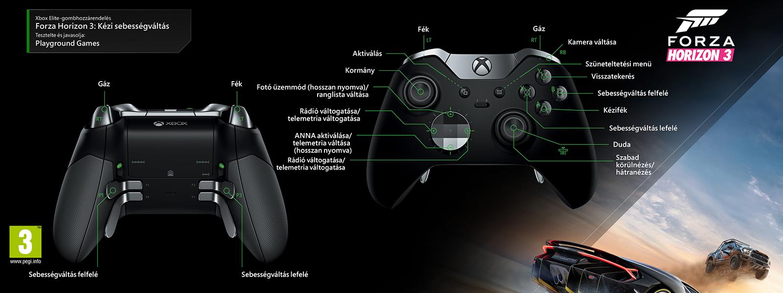"""Forza Horizon 3 – """"kézi váltás"""" Elit-gombkiosztás"""