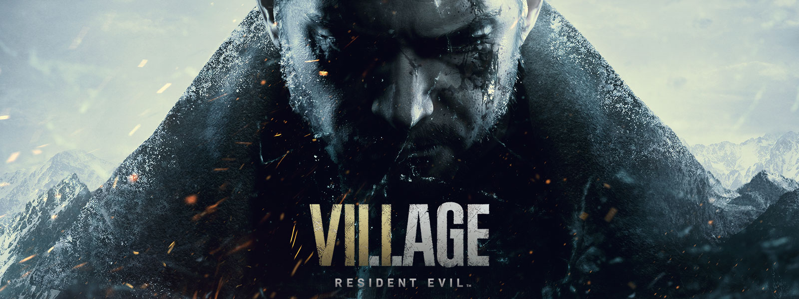 Resident Evil Village, Chris Redfield's sombre face on the side of a mountain