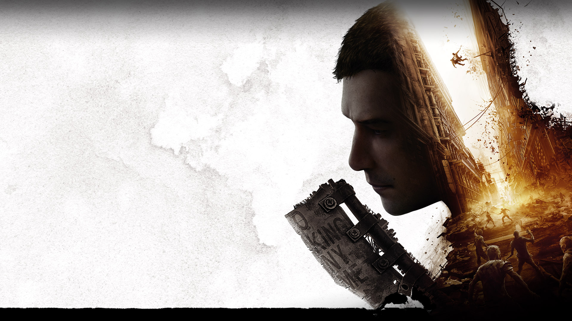 Dying Light 2, tiny scenes of people fighting in a city and a side view of a man with a weapon.