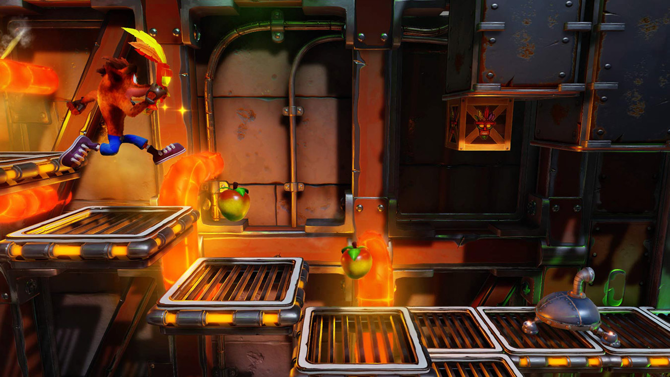Crash Bandicoot runs along grated platforms with wumpa fruit above them