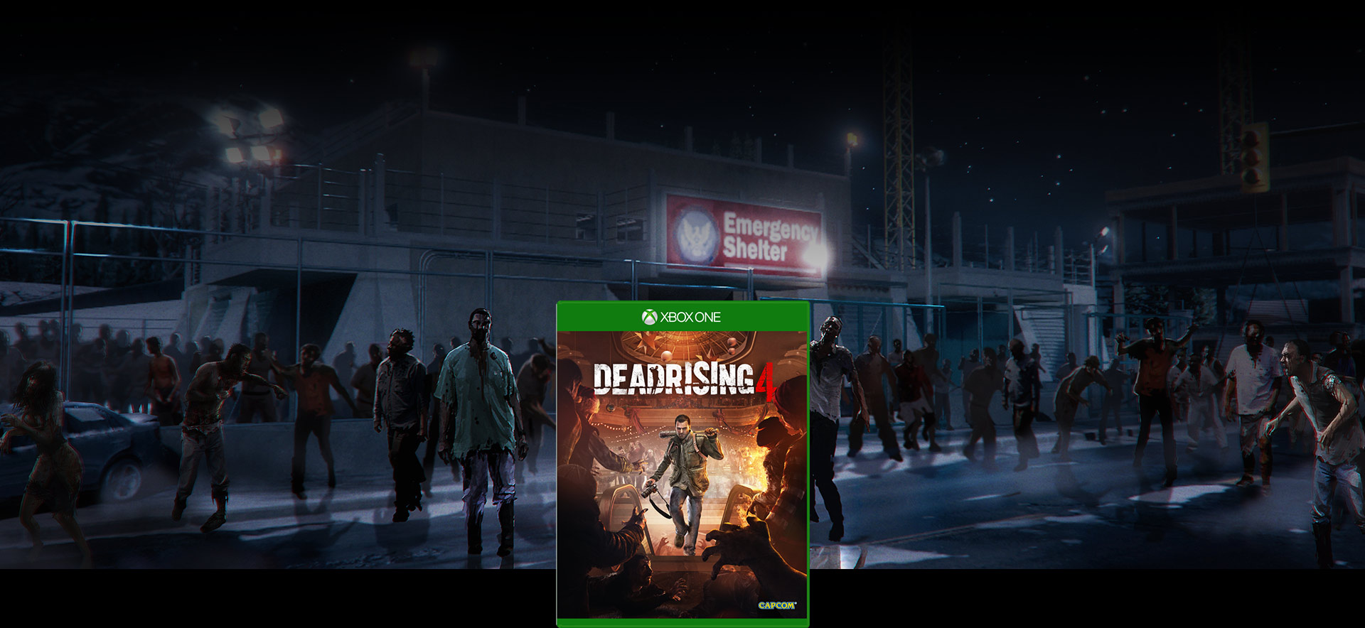 Dead Rising 4 box shot in front of a Horde of zombies at night background