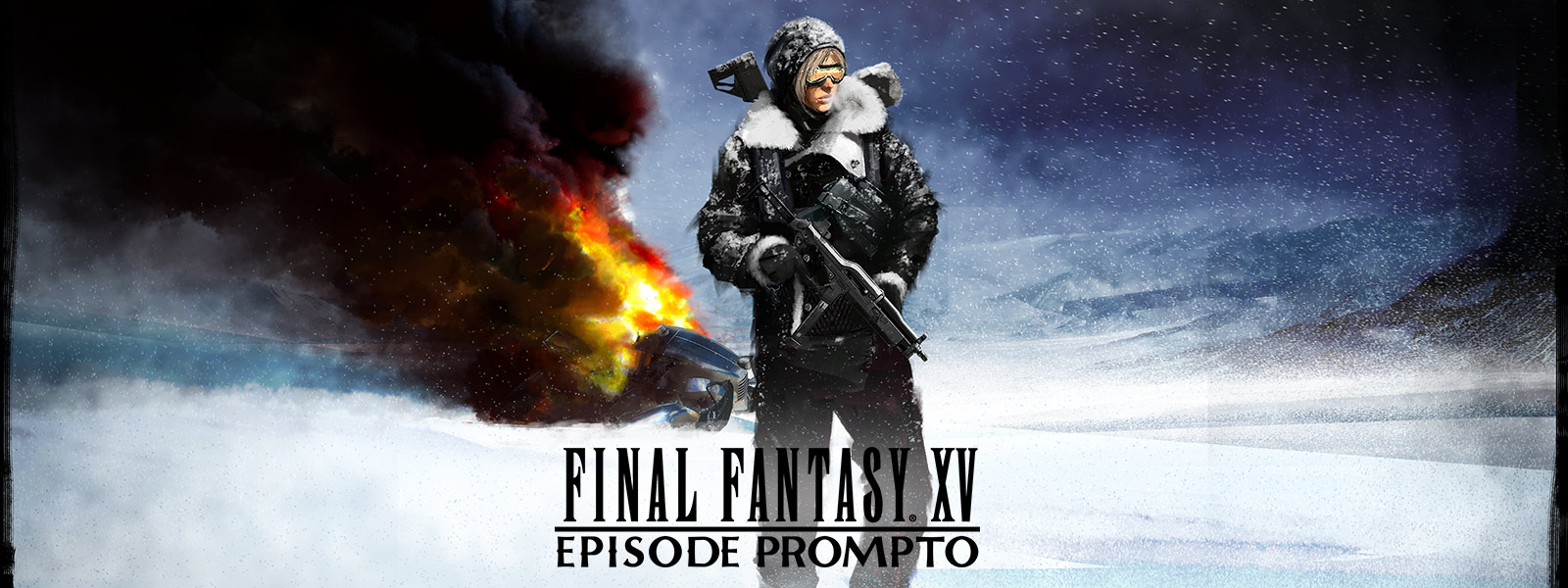 FINAL FANTASY XV: Episode Prompto,Prompto 拿著武器,站在撞毀的車輛前方。