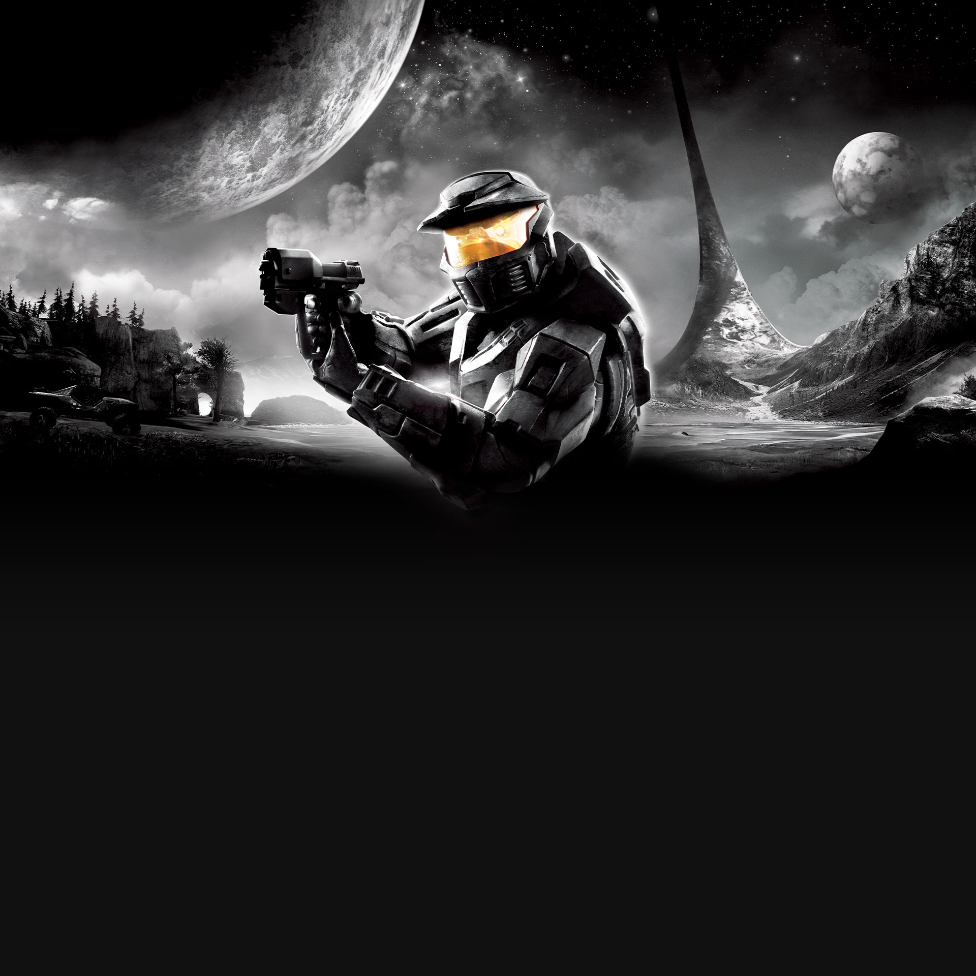 Halo: Combat Evolved Anniversary, Master Chief with pistol drawn on the surface of Halo