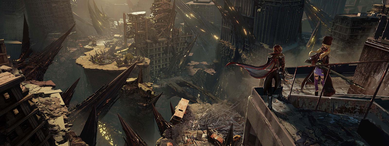 Postavy z hry Code Vein sa zo strechy pozerajú dole na zdecimované mesto