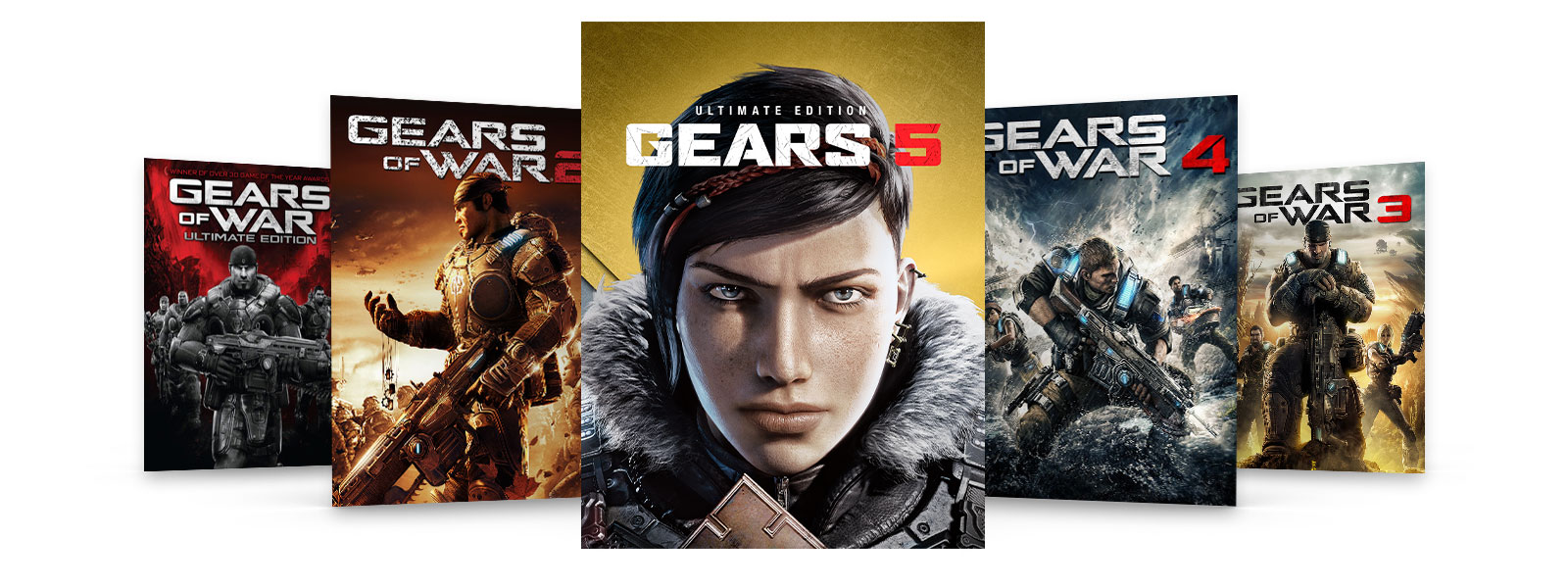 Box art of Gears of War Ultimate Edition and Gears 2, 3, and 4.