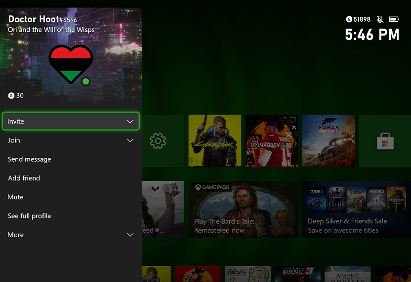 The Pan-African Flag Heart is shown on the Xbox dashboard; now available as a gamerpic in celebration of Black History Month.