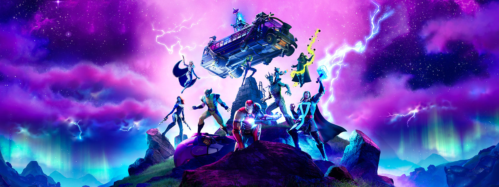 Marvel characters are surrounded by purple lightning as they prepare for battle on a mountaintop.