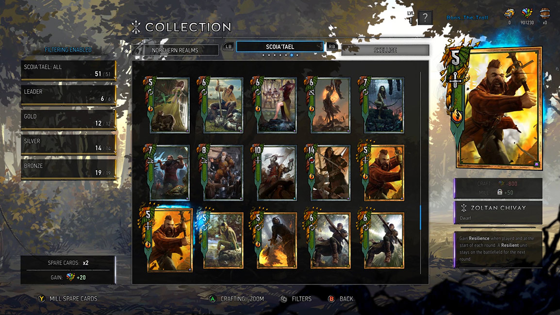 View of Gwent card game car collection screen
