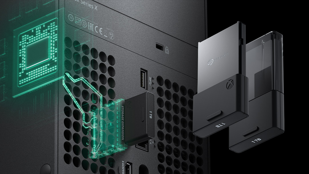1 terabyte storage chip plugged into the back of the Xbox Series X console