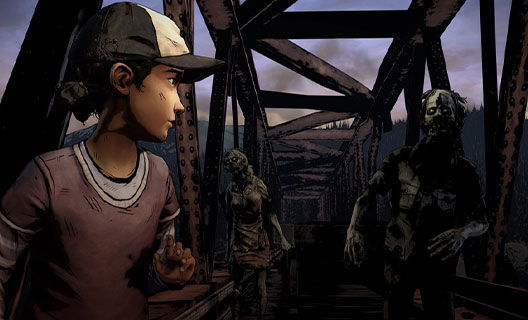 On an iron-framed footbridge, Clementine looks back at two zombies.