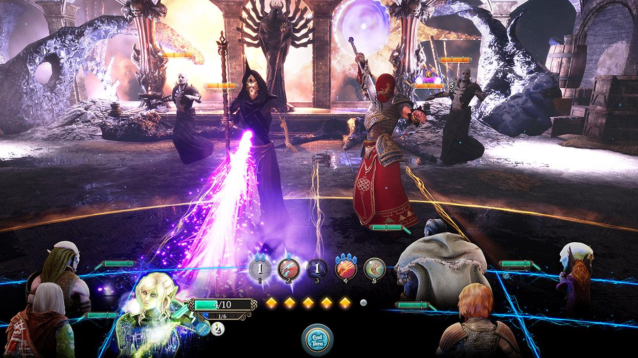 Vista desde el HUD de 4 enemigos luchando. Un personaje esqueleto con capa lanza un rayo de luz púrpura