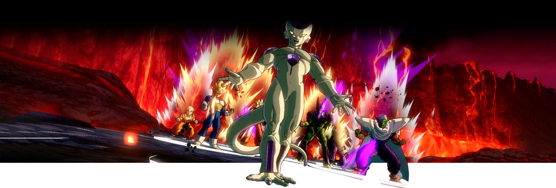 Freiza and other DRAGON BALL FighterZ characters power up in front of a pool of lava.