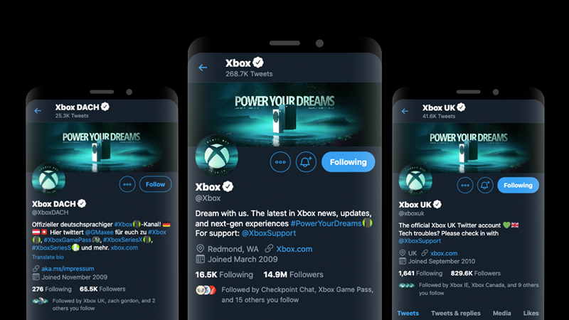 Three mobile devices showing Twitter profiles with a Launch Day banner on each