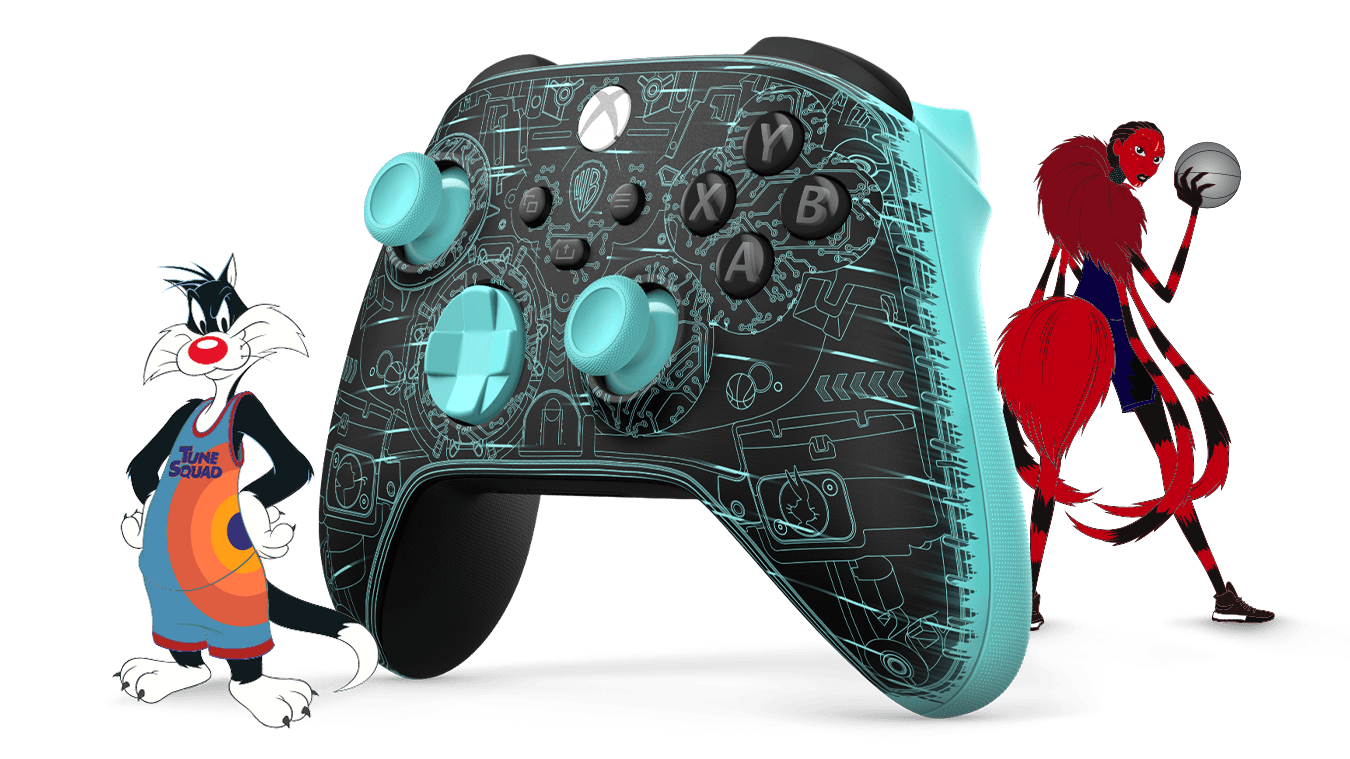 Black and turquoise Space Jam A New Legacy Serververse Exclusive Edition Xbox Wireless Controller, with cartoon members of the Tune and Goon Squads