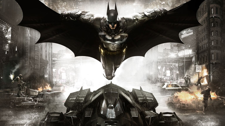 Batman jumping out of the Batmobile in the middle of Arkham city.