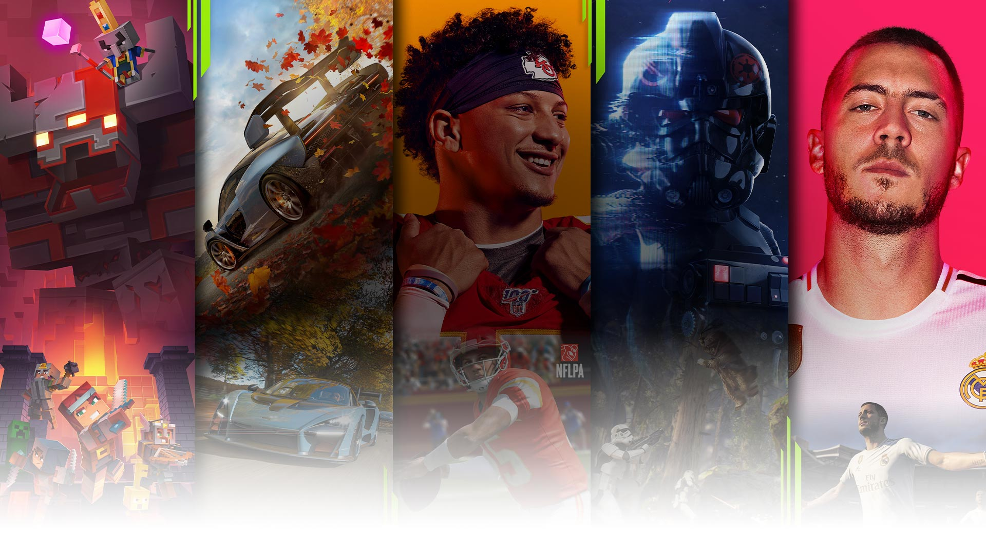 Mosaic of Minecraft, Forza, Madden 20, Battlefront 2, and FIFA 20