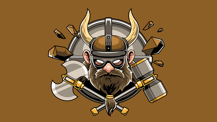 Illustration of Viking man surrounded by weapons