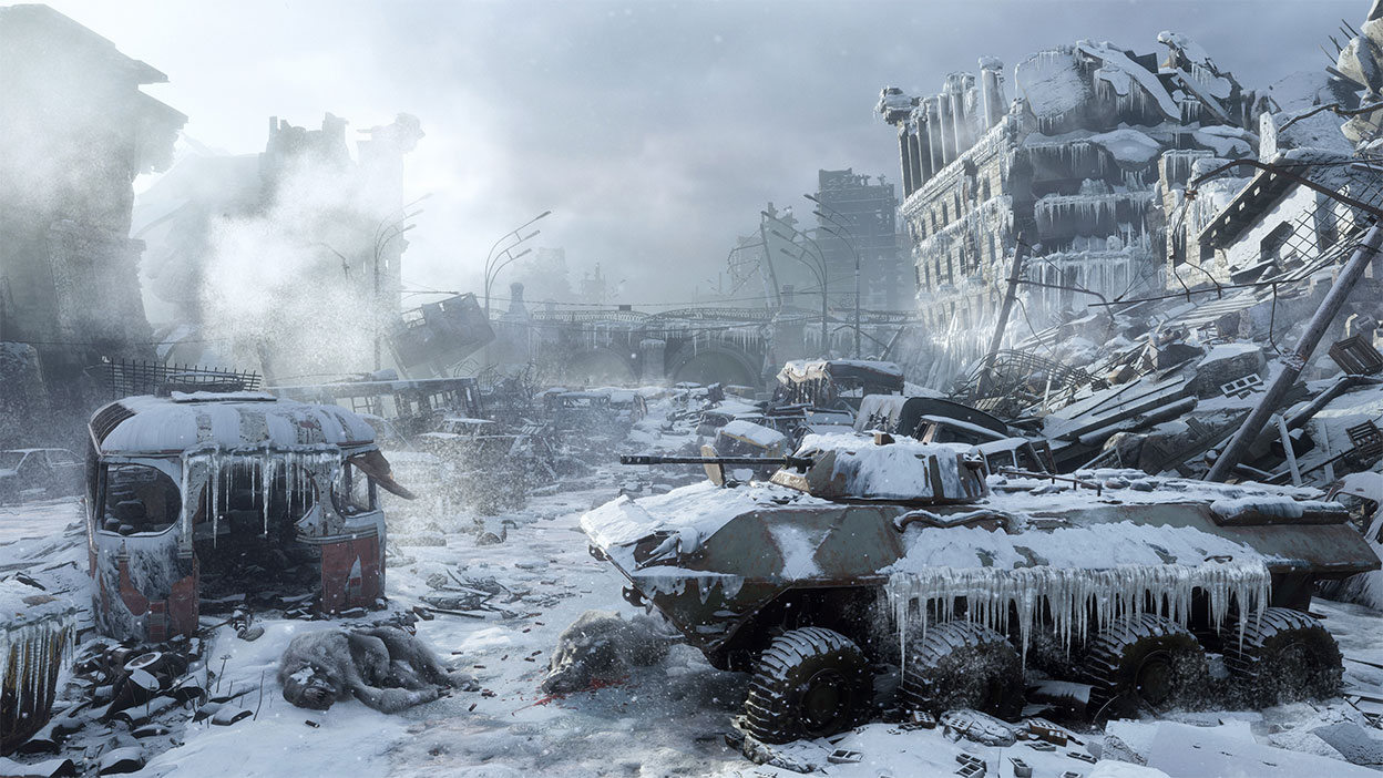 Frozen tank in a snow covered desolated city