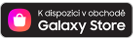Tlačítko s logem Samsung Galaxy Store a textové údaje jsou k dispozici v obchodě Galaxy