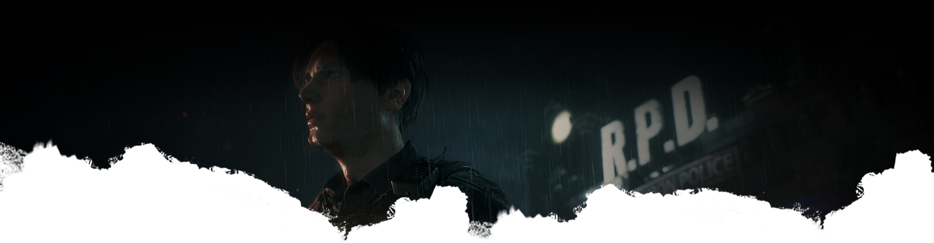 Leon Kennedy stands outside in the rain next to the Raccoon City Police Department