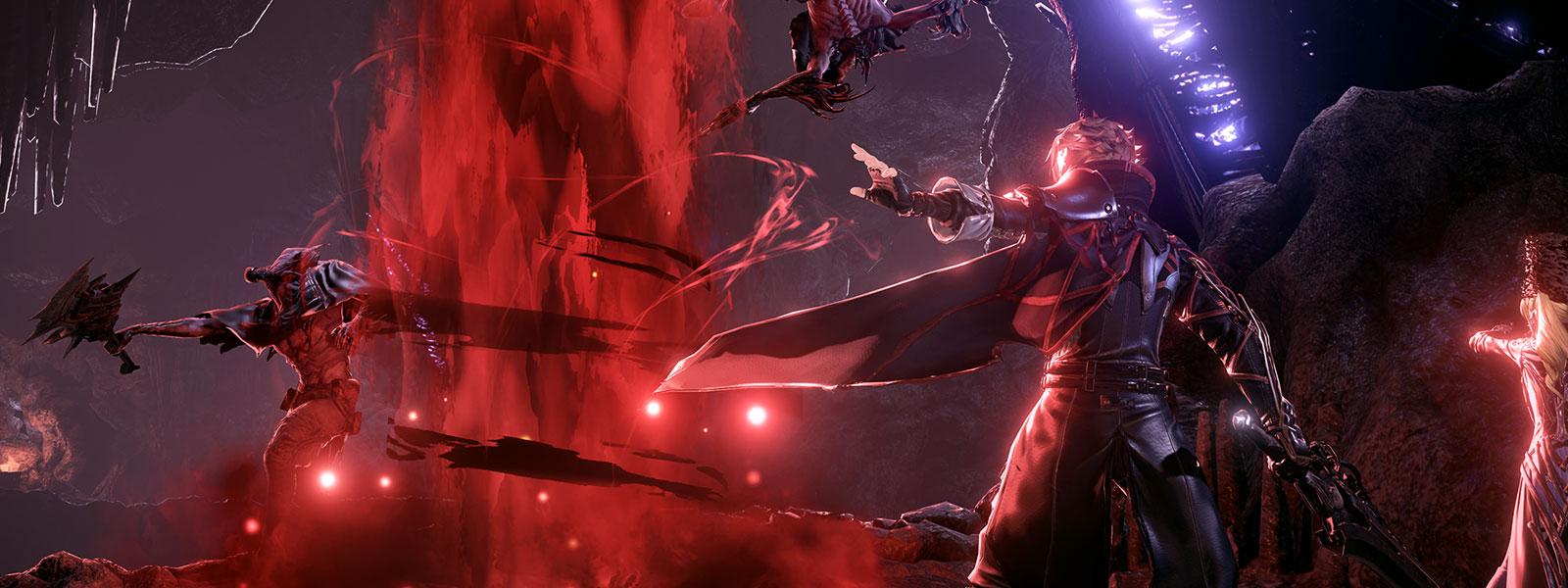 Postava z hry Code Vein s vylepšeniami Blood Code a mečom