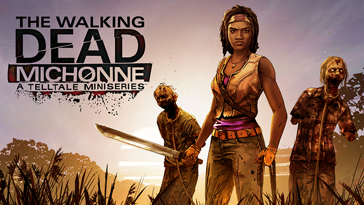 Michonne holding a sword with two walking dead zombies