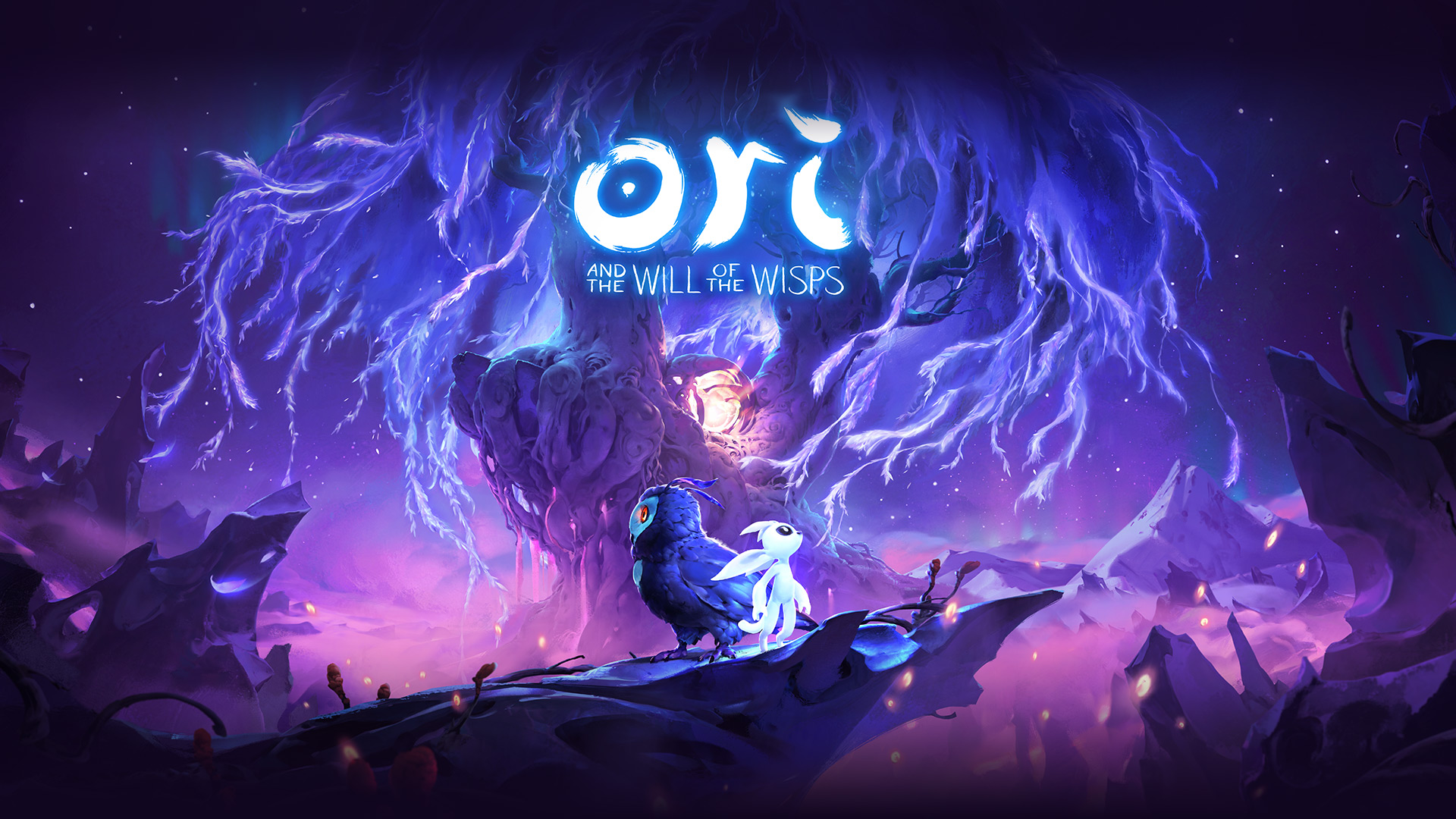 Ori and the Will of the Wisps, Ori se tenant debout à côté d'un hibou devant un arbre mauve fantastique.