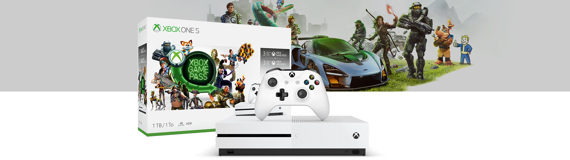 Xbox One S Starter bundle box, console, and controller with background image of several game characters