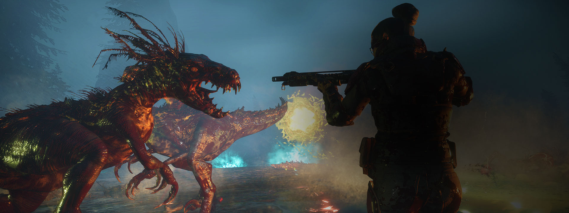 A character points their gun directly at a mutant dinosaur.