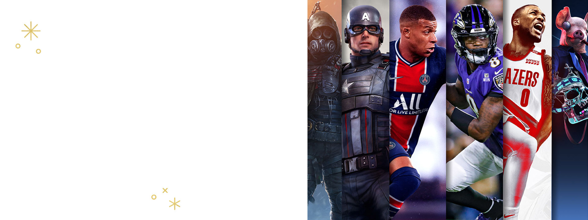 Game characters from Wasteland 3, Marvel's Avengers, FIFA 21, Madden NFL 21, NBA 2K21 and Watch Dogs: Legion.