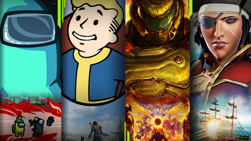 Art from Xbox Game Pass titles, Among Us, Fallout 4, DOOM Eternal, and Sea of Thieves