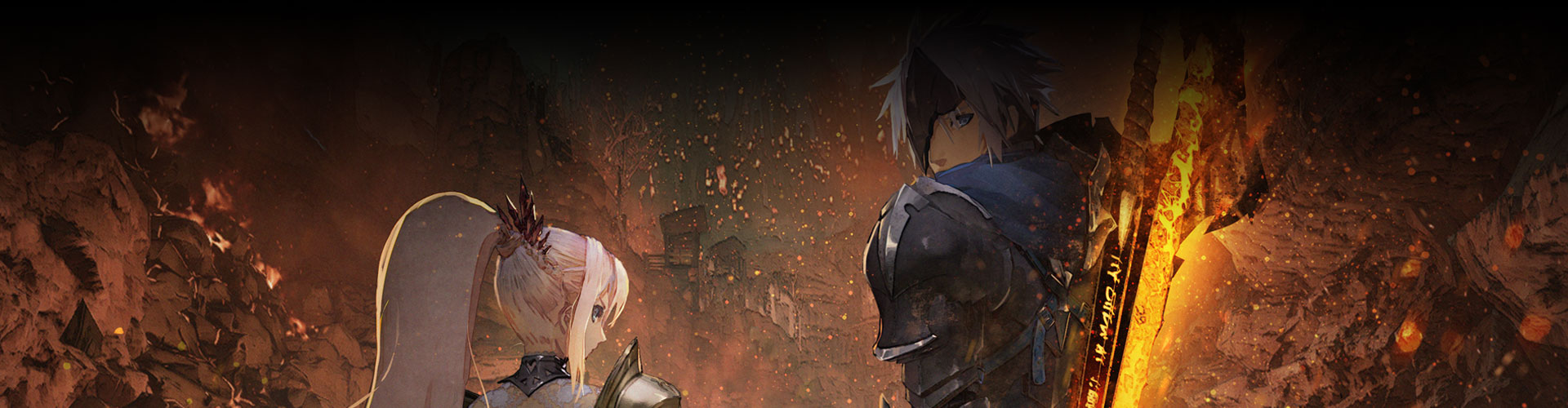 Shionne, de pie, junto a Alden, quien mira hacia atrás con una espada gigante en llamas