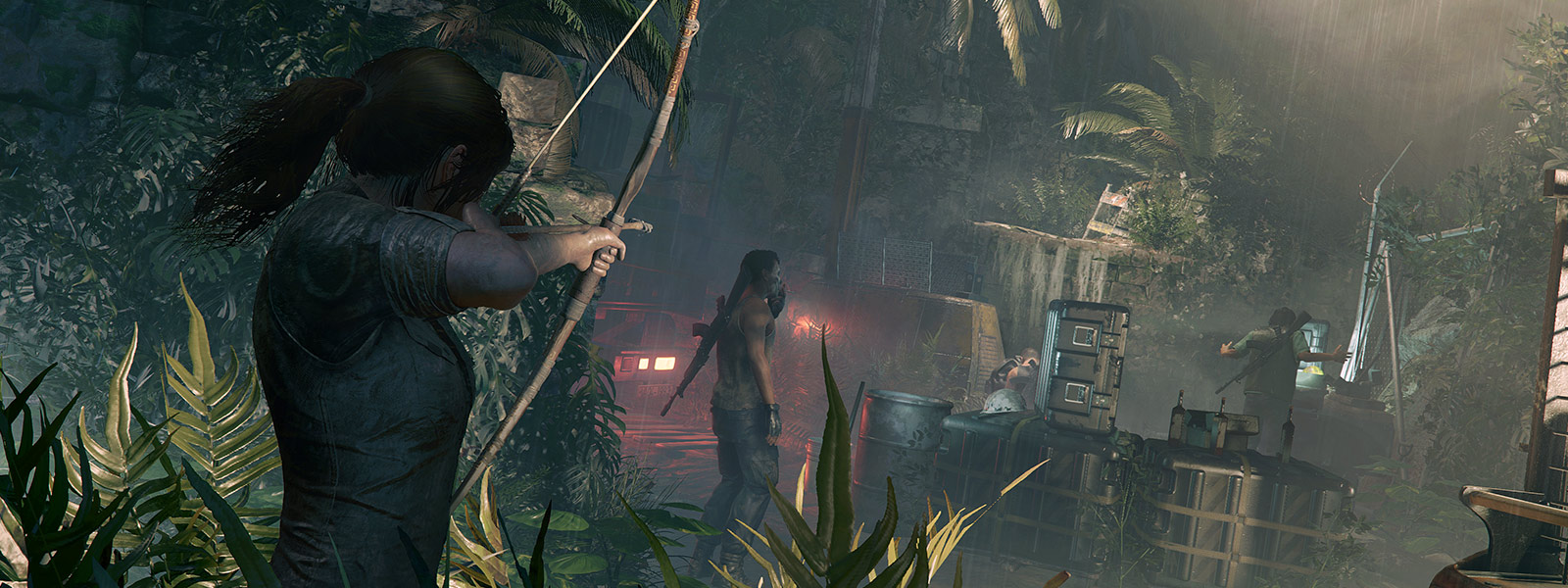 Lara Croft readies her bow toward a small encampment with men