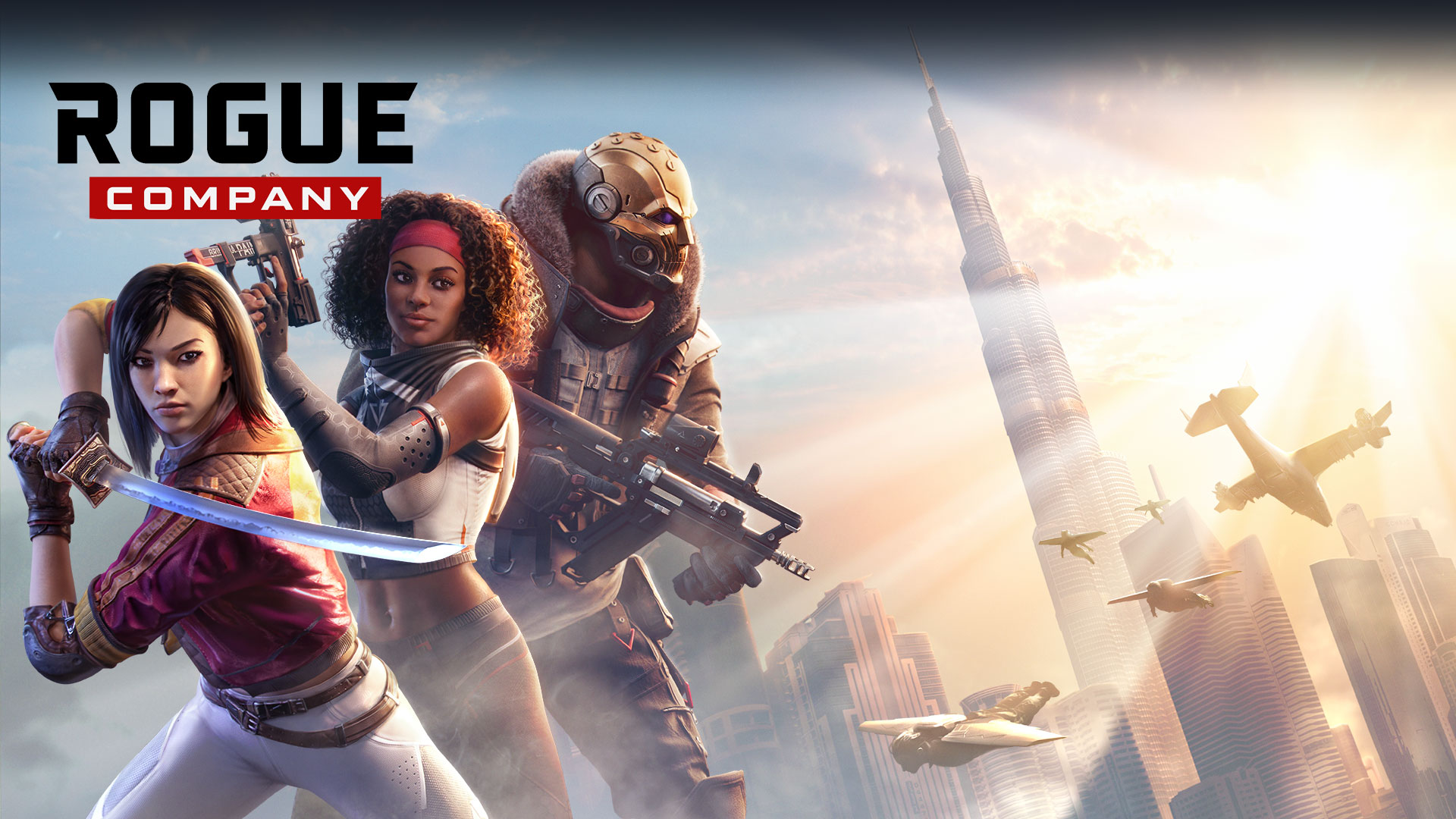 Rogue Company, Three characters hold their weapons at the ready in front of a sunlit cityscape.