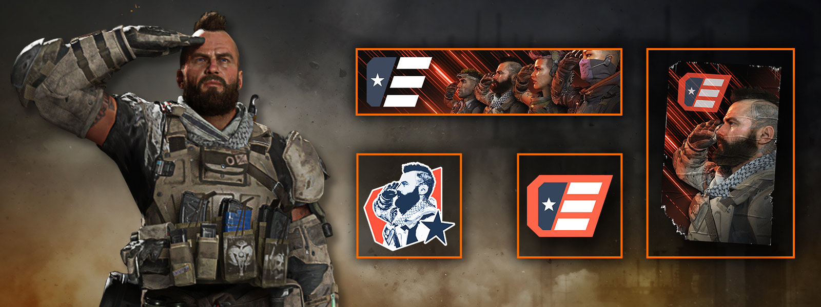 A male character does a salute next to a tag, sticker, calling card, and emblem
