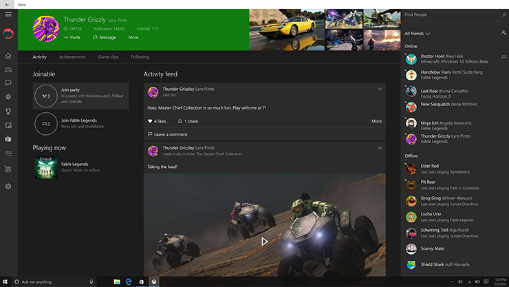 Xbox One dashboard showing messenger window