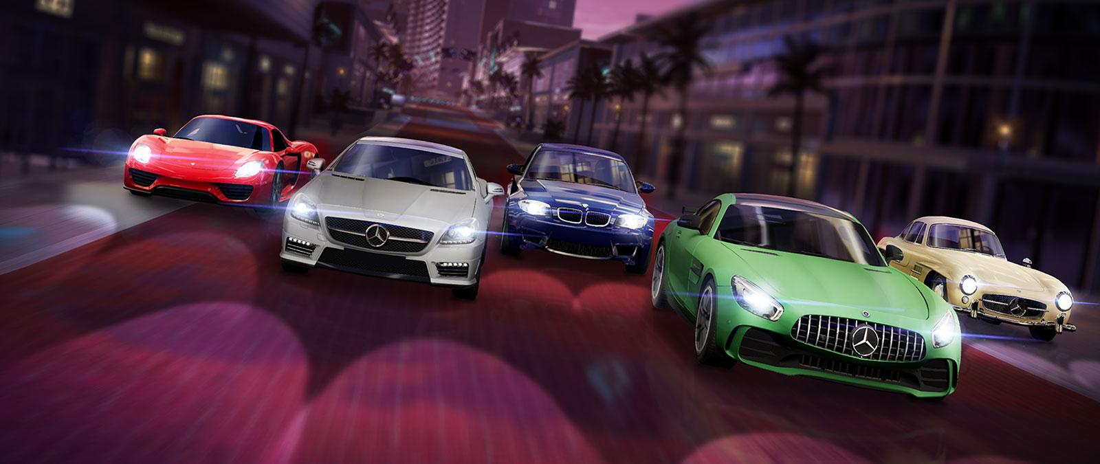 Fünf Autos deutscher Marken in verschiedenen Farben in einer Straße hintereinander aufgereiht