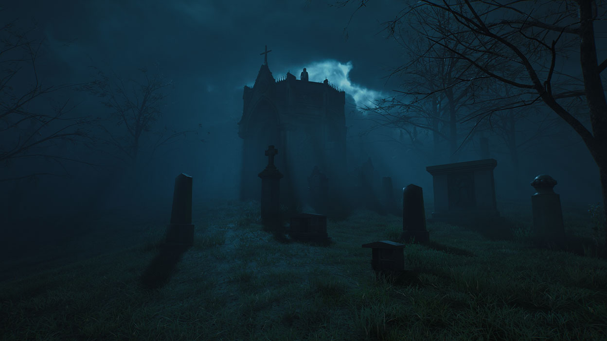 A dark church is silhouetted by the moon in a foggy graveyard.
