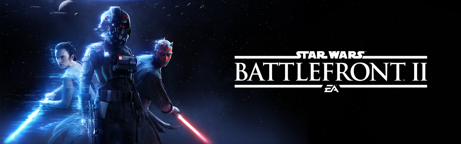 Star Wars Battlefront II, Front view of Iden Versio, Rey, and Darth Maul with a starry background.