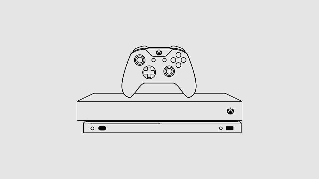 Illustration of the Xbox One X console