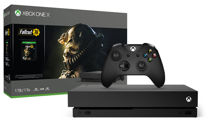 Kép az XboxOneX Fallout 76 (1TB) csomag dobozáról és a konzolról