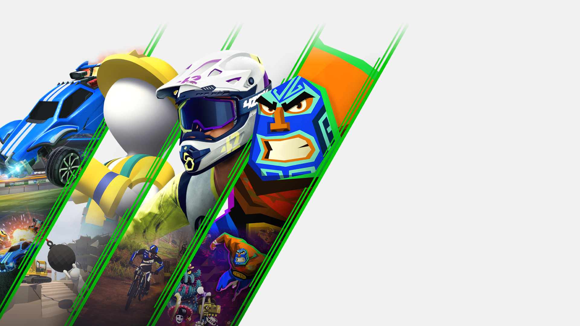 Collage van personages uit Rocket League, Human Fall Flat, Descenders en Guacamelee 2