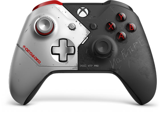 A black and silver cyberpunk 2077 themed xbox one controller
