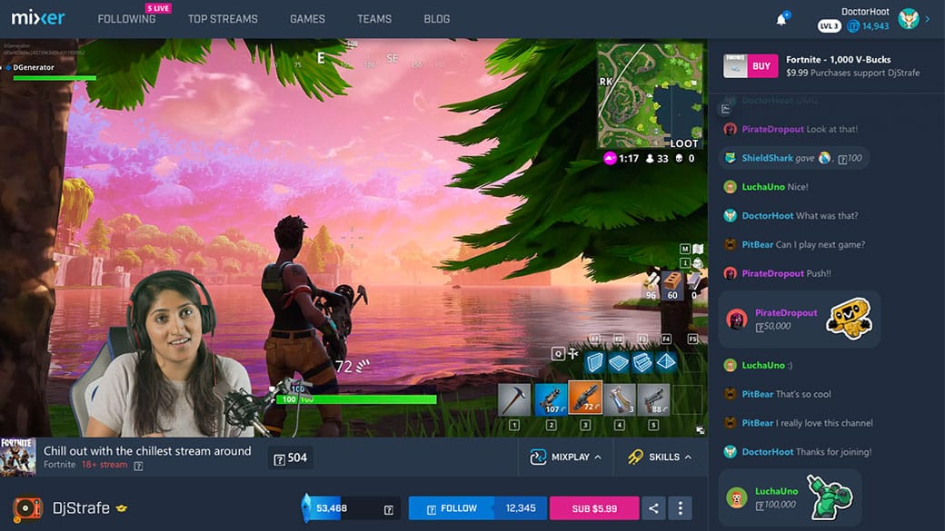 Desktop view of a streamer playing Fortnite on Mixer with chat opened