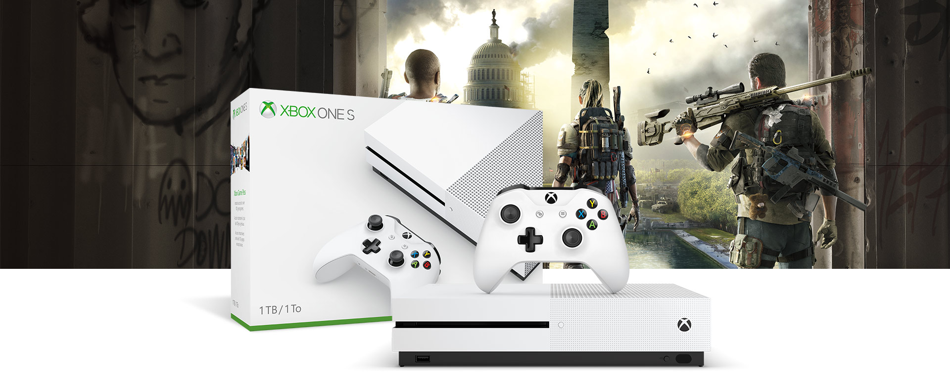 Xbox One S console in front of a hardware bundle box featuring Tom Clancy's The Division 2 art