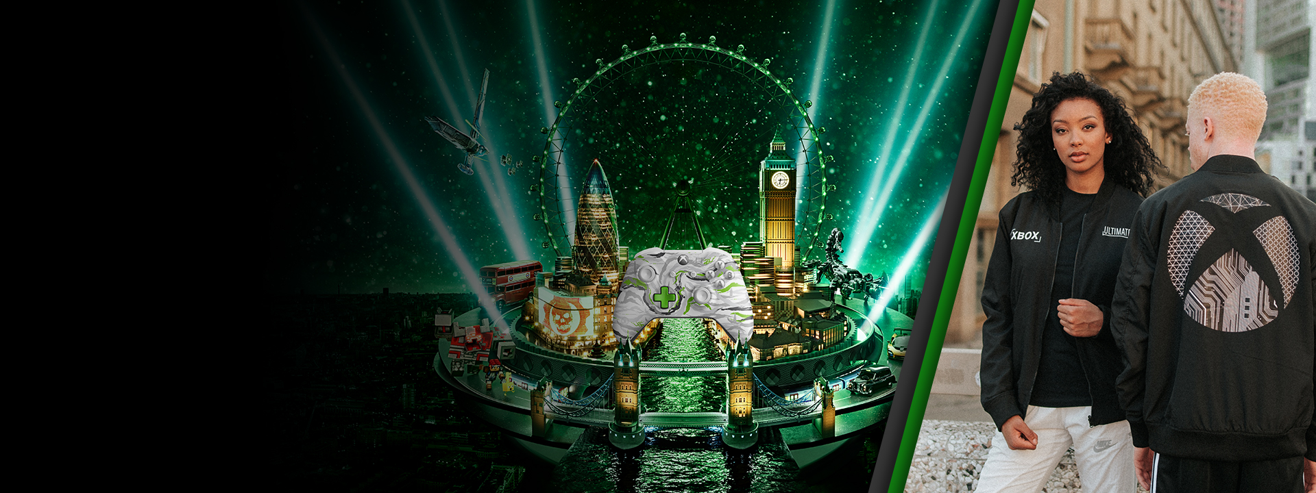 Two models wearing the Xbox Ultimate Jacket alongside a visual that depicts various elements from X019 London - including an Xbox One Controller, London Bridge, Big Ben, and more.