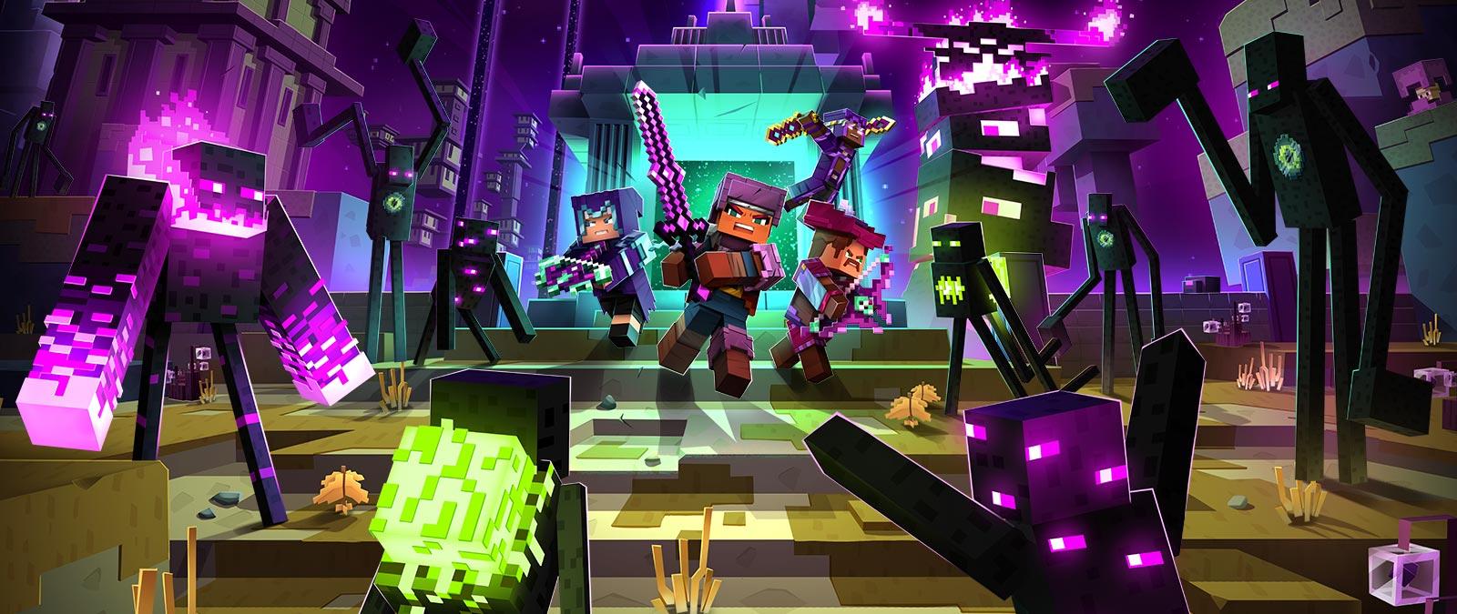 Cztery postacie ze zbrojami i broniami walczące z wieloma wrogami