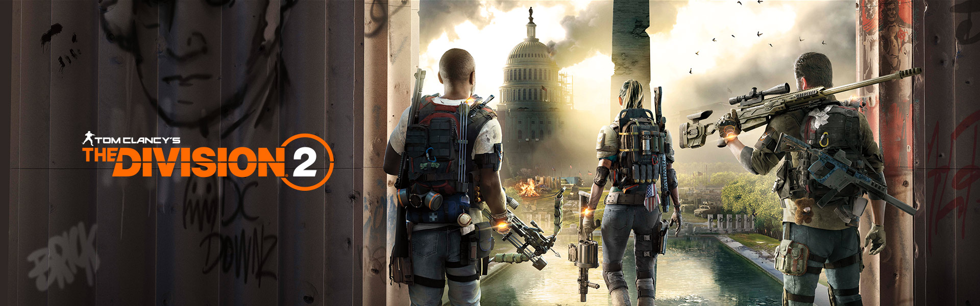 Tom Clancy's The Division 2, three heavily-geared people look out over a ravaged Washington D.C.