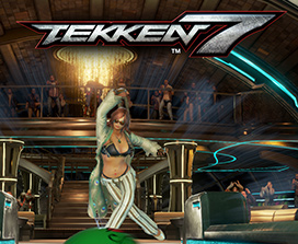 Tekken 7, female character mid-stride having just bowled a bowling ball